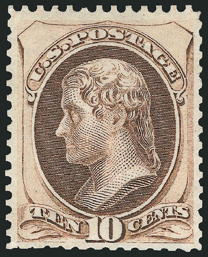 US Stamps Values Scott Cat. #172 - 10c 1875 Jefferson Special Printing. Robert Siegel Auction Galleries, Dec 2012, Sale 1036, Lot 119