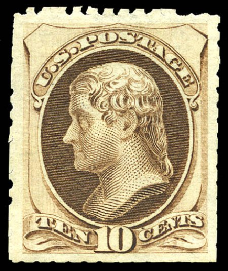 Prices of US Stamp Scott Catalog # 172 - 1875 10c Jefferson Special Printing. Matthew Bennett International, Sep 2012, Sale 345, Lot 210