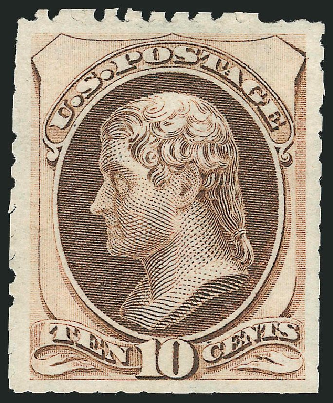 Cost of US Stamps Scott 172 - 1875 10c Jefferson Special Printing. Robert Siegel Auction Galleries, Feb 2015, Sale 1092, Lot 1134