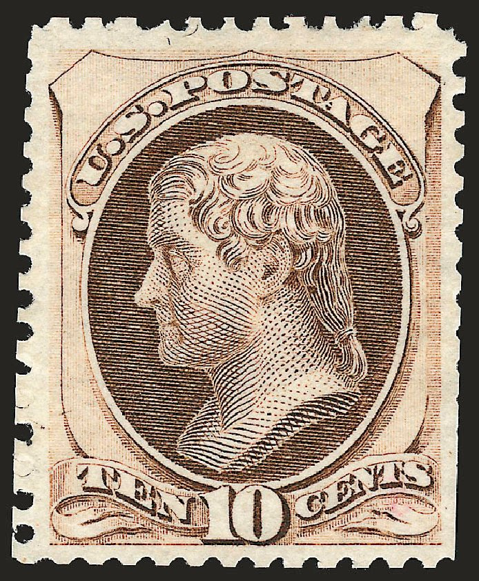 Values of US Stamps Scott Catalog # 172 - 1875 10c Jefferson Special Printing. Robert Siegel Auction Galleries, Oct 2008, Sale 963, Lot 785