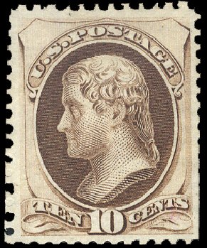 US Stamps Prices Scott Cat. 172: 10c 1875 Jefferson Special Printing. Cherrystone Auctions, Feb 2011, Sale 201102, Lot 62