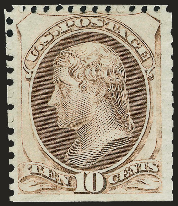 US Stamp Prices Scott Catalog #172 - 10c 1875 Jefferson Special Printing. Robert Siegel Auction Galleries, Apr 2009, Sale 972, Lot 3173