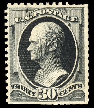 Value of US Stamp Scott Cat. # 176 - 1875 30c Hamilton Special Printing. Cherrystone Auctions, Apr 2010, Sale 201004, Lot 180
