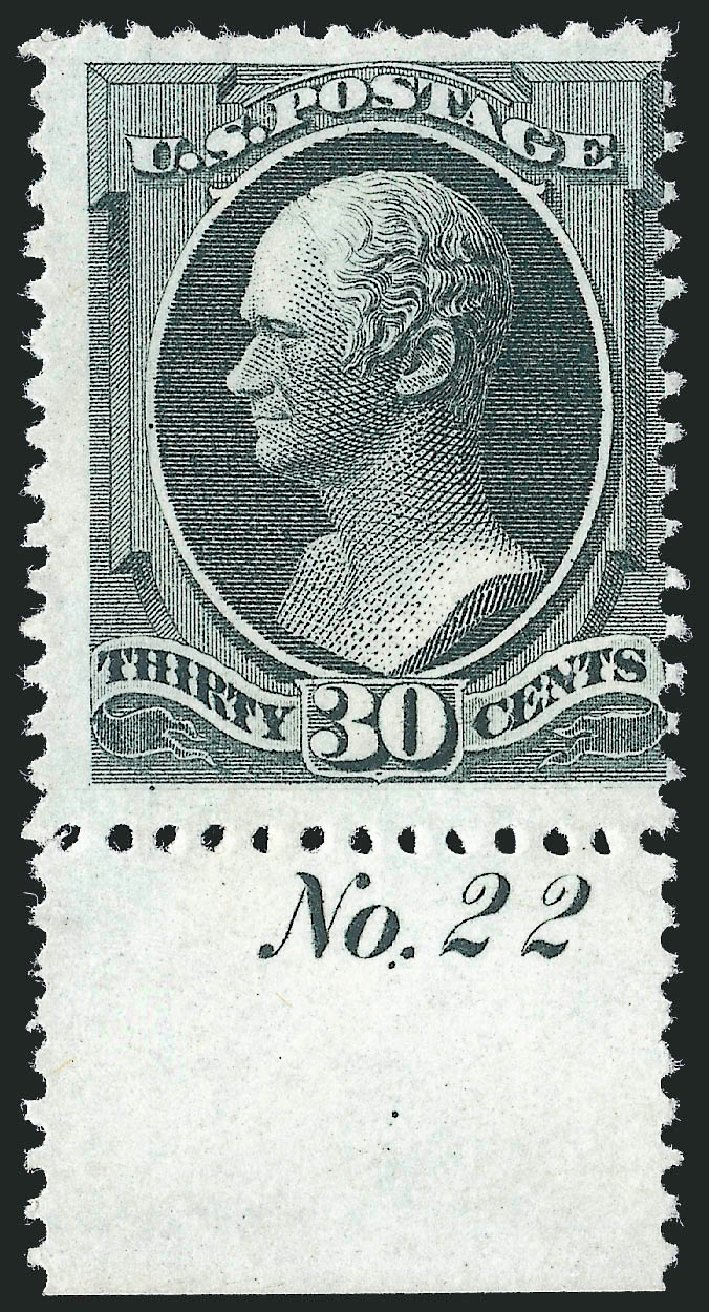 US Stamp Price Scott Catalog # 176: 1875 30c Hamilton Special Printing. Robert Siegel Auction Galleries, Oct 2012, Sale 1033, Lot 4103
