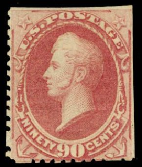 US Stamp Values Scott Catalog #177 - 1875 90c Perry Special Printing. Daniel Kelleher Auctions, Sep 2013, Sale 639, Lot 3282