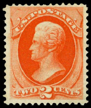 US Stamp Prices Scott Catalog 178 - 1875 2c Jackson Continental. Daniel Kelleher Auctions, Jan 2015, Sale 663, Lot 1411