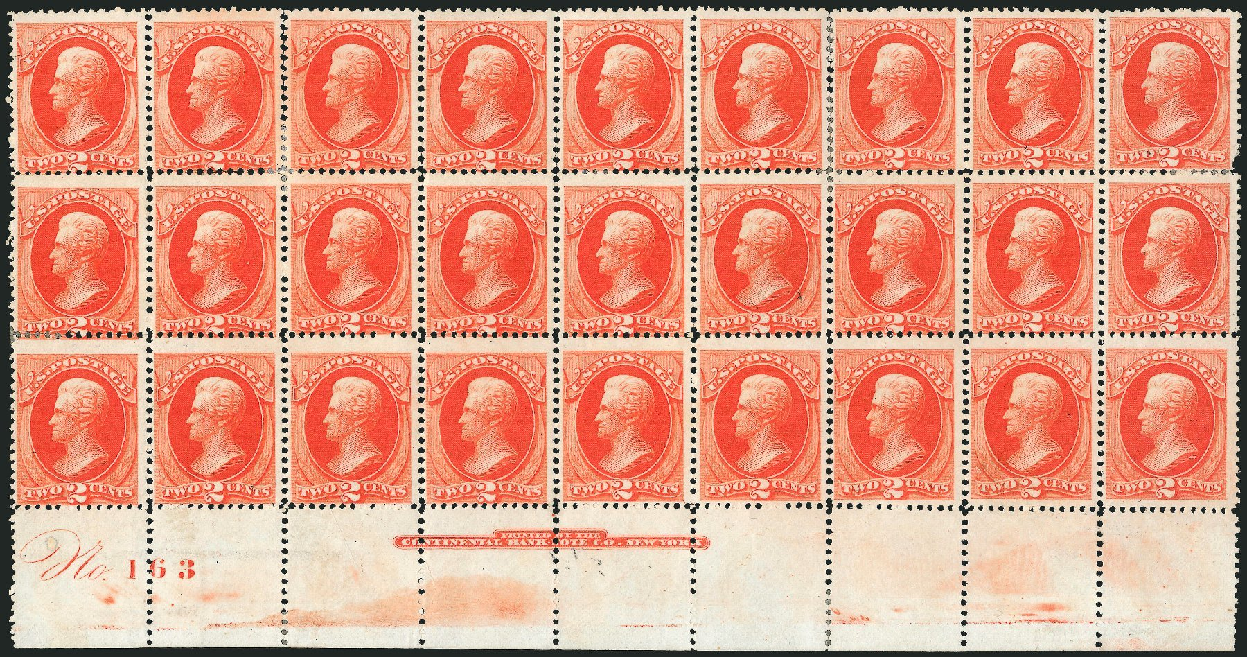 Values of US Stamp Scott Catalogue # 178 - 1875 2c Jackson Continental. Robert Siegel Auction Galleries, Nov 2014, Sale 1084, Lot 3442