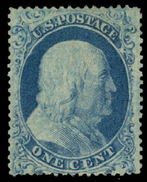 Value of US Stamps Scott Cat. #18 - 1c 1861 Franklin. Daniel Kelleher Auctions, Jan 2015, Sale 663, Lot 1240