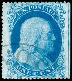 US Stamps Prices Scott 18 - 1861 1c Franklin. Schuyler J. Rumsey Philatelic Auctions, Apr 2015, Sale 60, Lot 1960