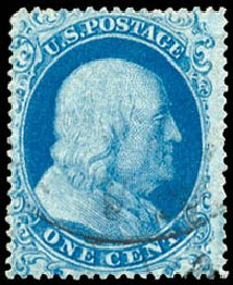 Prices of US Stamps Scott 18 - 1861 1c Franklin. Schuyler J. Rumsey Philatelic Auctions, Apr 2015, Sale 60, Lot 1961