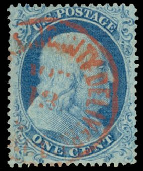 Value of US Stamp Scott Catalogue # 18 - 1861 1c Franklin. Daniel Kelleher Auctions, Aug 2015, Sale 672, Lot 2165