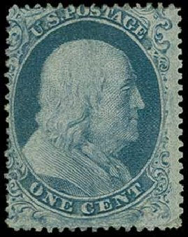 Values of US Stamps Scott Catalogue 18 - 1c 1861 Franklin. H.R. Harmer, Jun 2015, Sale 3007, Lot 3113