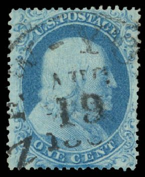 Cost of US Stamp Scott Cat. 18 - 1861 1c Franklin. Daniel Kelleher Auctions, Aug 2015, Sale 672, Lot 2166