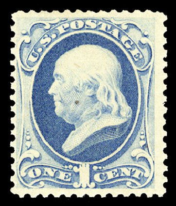 Prices of US Stamp Scott Catalogue 182 - 1879 1c Franklin. Cherrystone Auctions, Jan 2015, Sale 201501, Lot 155