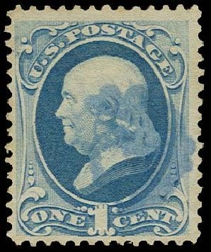 US Stamp Values Scott # 182: 1c 1879 Franklin. H.R. Harmer, Oct 2014, Sale 3006, Lot 1225