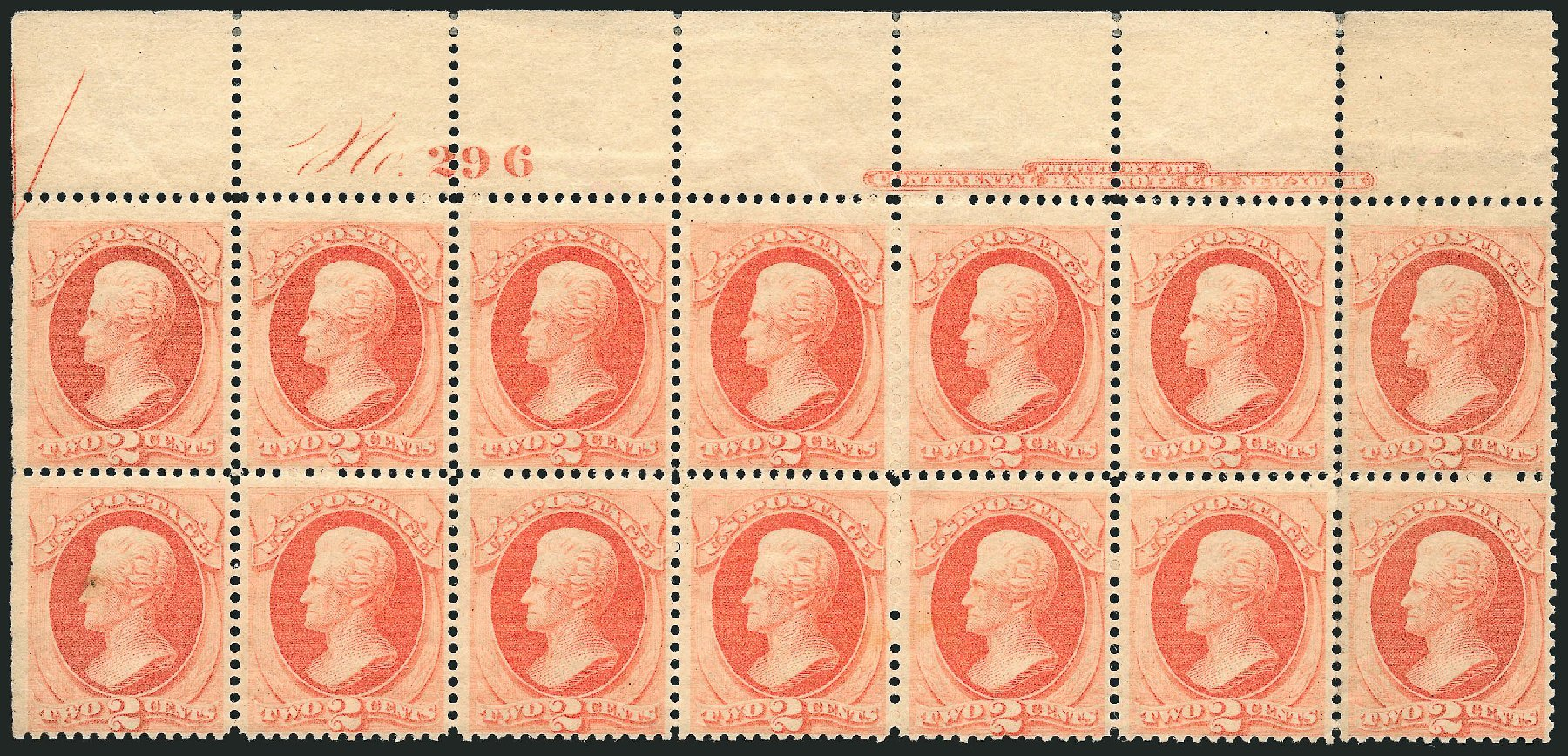 US Stamp Values Scott # 183 - 2c 1879 Jackson. Robert Siegel Auction Galleries, Nov 2014, Sale 1084, Lot 3446