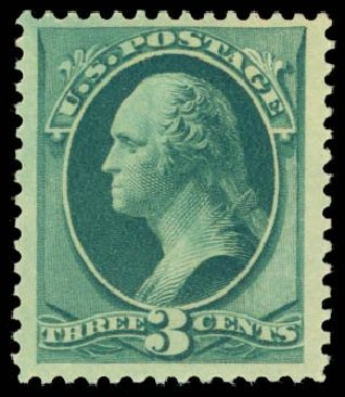 US Stamp Values Scott Cat. #184 - 1879 3c Washington. Daniel Kelleher Auctions, Dec 2014, Sale 661, Lot 159