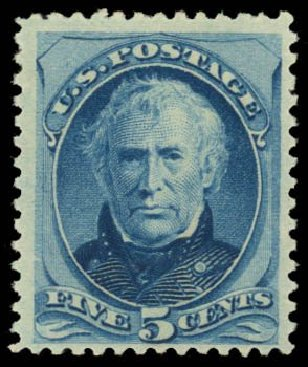 US Stamps Value Scott Catalog # 185: 1879 5c Taylor. Daniel Kelleher Auctions, Dec 2014, Sale 661, Lot 160