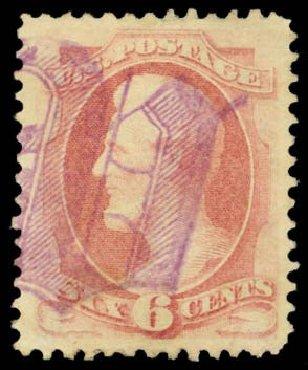 US Stamps Values Scott Cat. #186 - 6c 1879 Lincoln. Daniel Kelleher Auctions, Dec 2014, Sale 661, Lot 163