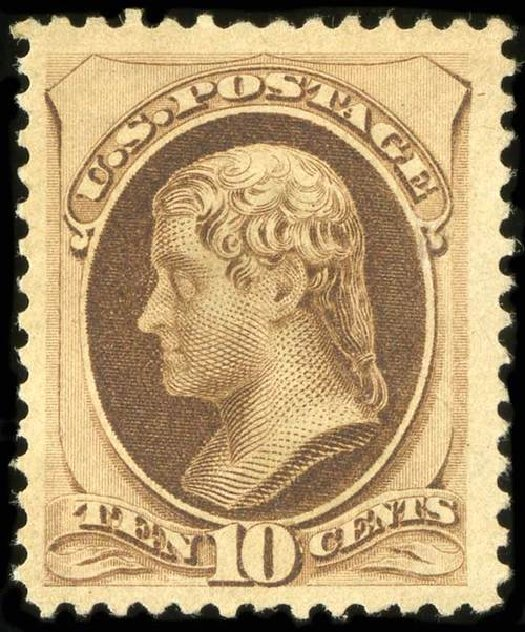 US Stamps Value Scott # 187: 10c 1879 Jefferson. Spink Shreves Galleries, Jul 2015, Sale 151, Lot 157