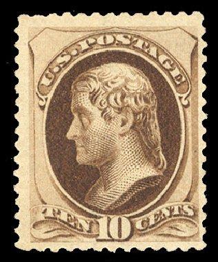 US Stamp Value Scott 187 10c 1879 Jefferson Cherrystone Auctions Sep 2014