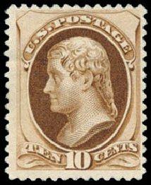 US Stamp Price Scott Cat. 187 - 10c 1879 Jefferson. Schuyler J. Rumsey Philatelic Auctions, Apr 2015, Sale 60, Lot 2179