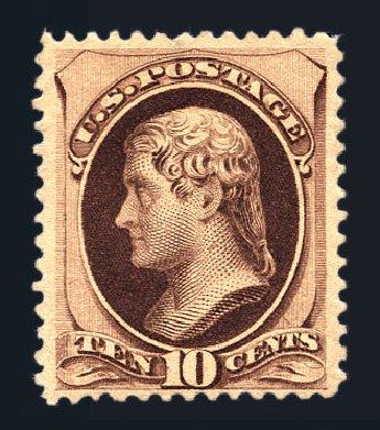 Values of US Stamps Scott # 187: 10c 1879 Jefferson. Harmer-Schau Auction Galleries, Aug 2015, Sale 106, Lot 1530
