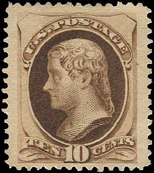Cost of US Stamps Scott Cat. # 187: 1879 10c Jefferson. Regency-Superior, Aug 2015, Sale 112, Lot 341