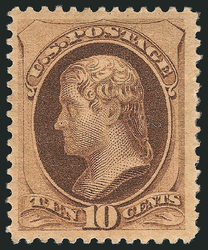 Costs of US Stamp Scott # 187: 1879 10c Jefferson. Robert Siegel Auction Galleries, Apr 2015, Sale 1096, Lot 334