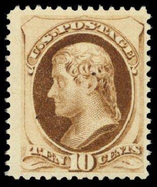Cost of US Stamps Scott # 187: 10c 1879 Jefferson. Daniel Kelleher Auctions, Dec 2014, Sale 661, Lot 165