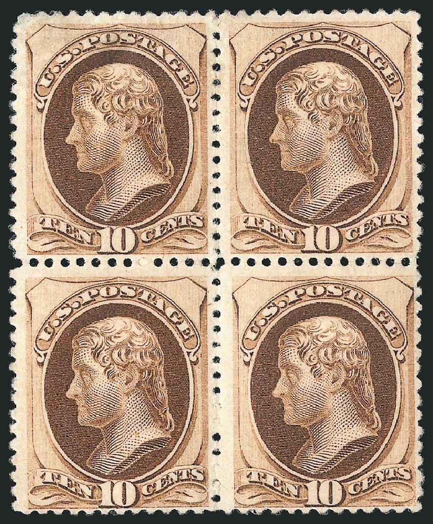 Value of US Stamp Scott # 187 - 10c 1879 Jefferson. Robert Siegel Auction Galleries, Apr 2015, Sale 1096, Lot 335