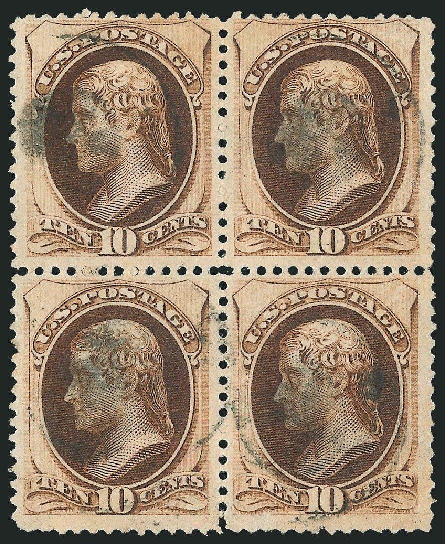 US Stamps Values Scott Catalog 187 - 1879 10c Jefferson. Robert Siegel Auction Galleries, Nov 2014, Sale 1084, Lot 3453