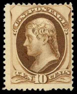 Cost of US Stamp Scott Cat. # 187 - 1879 10c Jefferson. Daniel Kelleher Auctions, Dec 2014, Sale 661, Lot 166