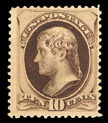 Value of US Stamp Scott 188 - 1879 10c Jefferson. Cherrystone Auctions, Jan 2015, Sale 201501, Lot 157