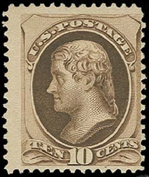 Costs of US Stamp Scott Cat. # 188 - 1879 10c Jefferson. H.R. Harmer, Oct 2014, Sale 3006, Lot 1227