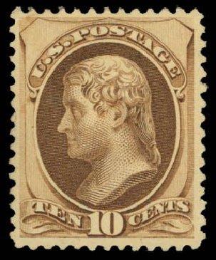 Price of US Stamp Scott Cat. # 188 - 10c 1879 Jefferson. Daniel Kelleher Auctions, Dec 2014, Sale 661, Lot 167
