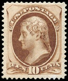 US Stamps Values Scott #188 - 1879 10c Jefferson. Schuyler J. Rumsey Philatelic Auctions, Apr 2015, Sale 60, Lot 2180