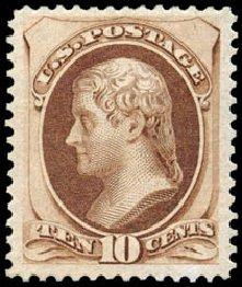 US Stamps Values Scott #188 - 1879 10c Jefferson. Schuyler J. Rumsey Philatelic Auctions, Apr 2015, Sale 60, Lot 2180