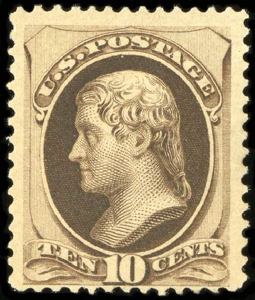 Costs of US Stamps Scott Catalogue 188: 10c 1879 Jefferson. Spink Shreves Galleries, Jul 2015, Sale 151, Lot 160