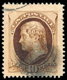 US Stamp Price Scott 188: 1879 10c Jefferson. Schuyler J. Rumsey Philatelic Auctions, Apr 2015, Sale 60, Lot 2181