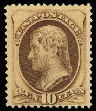 US Stamps Values Scott Cat. # 188: 1879 10c Jefferson. Daniel Kelleher Auctions, Oct 2014, Sale 660, Lot 2184