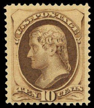 US Stamps Values Scott Cat. # 188: 1879 10c Jefferson. Daniel Kelleher Auctions, Oct 2014, Sale 660, Lot 2184
