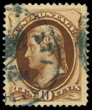 Value of US Stamps Scott # 188 - 10c 1879 Jefferson. Daniel Kelleher Auctions, Sep 2014, Sale 655, Lot 292