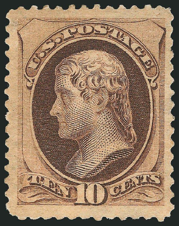 US Stamp Prices Scott 188: 10c 1879 Jefferson. Robert Siegel Auction Galleries, Dec 2014, Sale 1090, Lot 1346