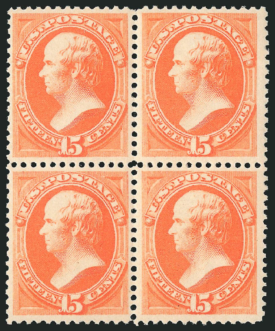 US Stamps Values Scott Cat. #189 - 1879 15c Webster. Robert Siegel Auction Galleries, Apr 2015, Sale 1096, Lot 339