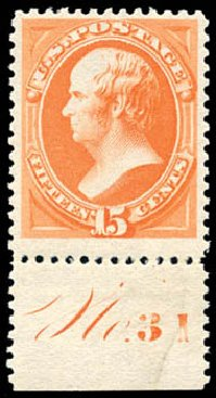 Costs of US Stamps Scott Cat. #189 - 15c 1879 Webster. Schuyler J. Rumsey Philatelic Auctions, Apr 2015, Sale 60, Lot 2725