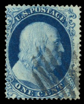 Price of US Stamps Scott Catalogue # 19 - 1857 1c Franklin. Daniel Kelleher Auctions, Aug 2015, Sale 672, Lot 2167