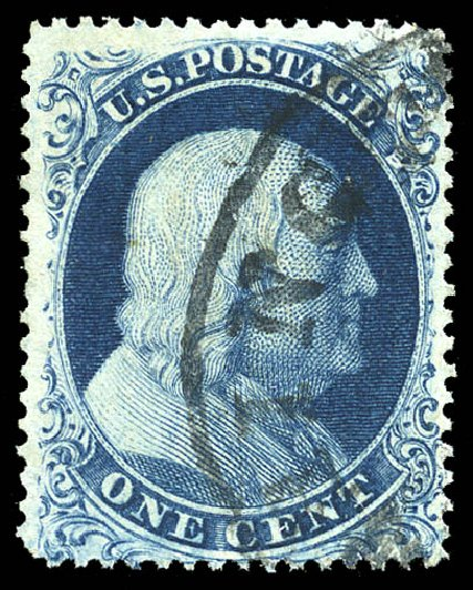 US Stamps Values Scott Cat. # 19: 1c 1857 Franklin. Matthew Bennett International, Feb 2015, Sale 351, Lot 39