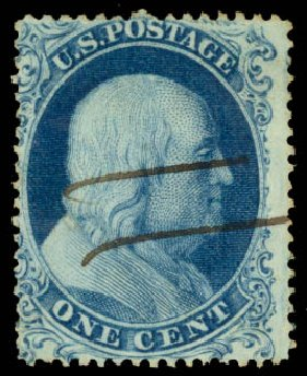 Values of US Stamps Scott Cat. #19: 1c 1857 Franklin. Daniel Kelleher Auctions, Aug 2015, Sale 672, Lot 2169
