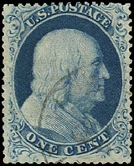 Values of US Stamps Scott Catalog 19: 1857 1c Franklin. Regency-Superior, Jan 2015, Sale 109, Lot 579